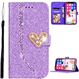 Bling Card Slot Holder für iPhone XR,Diamond Sparkle Glitzer Glitter Colorful Leather Wallet Stand...